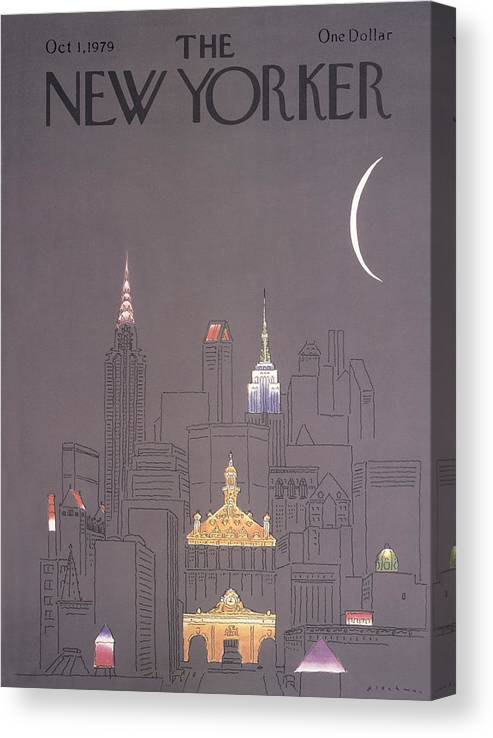 Urban Canvas Print featuring the drawing New Yorker October 1st, 1979 by RO Blechman