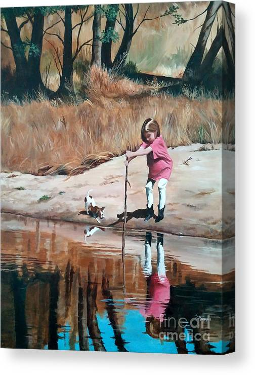 Scenes Canvas Print featuring the painting The Pond by Suzanne Schaefer