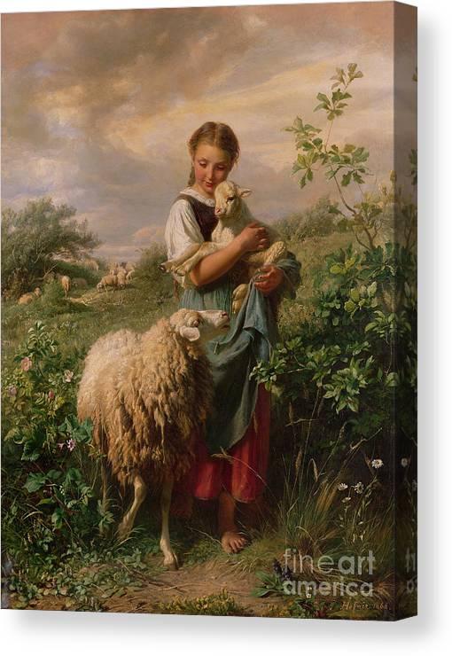 Shepherdess Canvas Print featuring the painting The Shepherdess by Johann Baptist Hofner