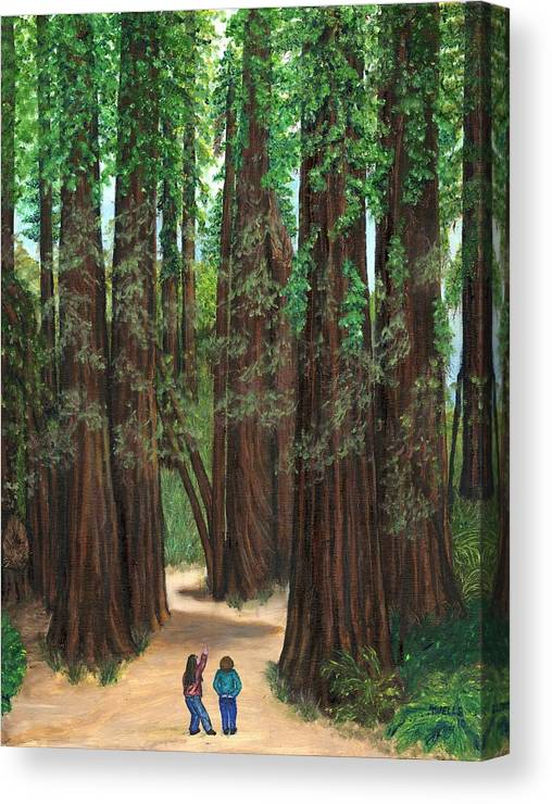 Redwoods Canvas Print featuring the painting The Tall and Not to be Cut by Tanna Lee M Wells