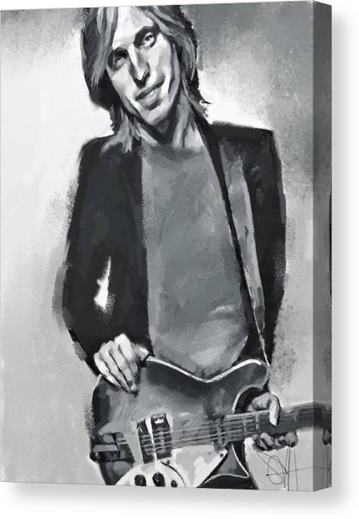 Tom Petty Music Portrait Musician Rock Canvas Print featuring the digital art Tom by Scott Waters