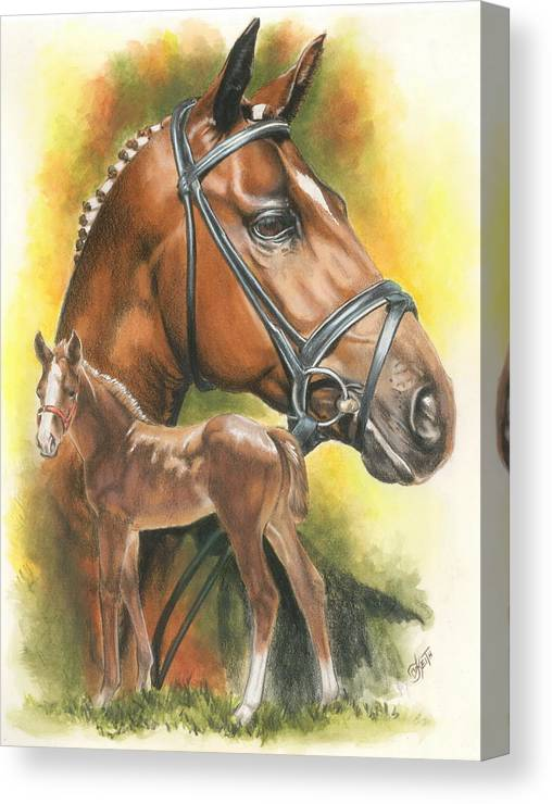 Jumper Hunter Canvas Print featuring the mixed media Trakehner by Barbara Keith
