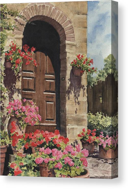 Flowers Canvas Print featuring the painting Tuscan Door by Sam Sidders