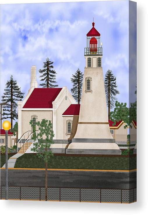 Umpqua Lighthouse Canvas Print featuring the painting Umpqua River Lighthouse July 2010 by Anne Norskog