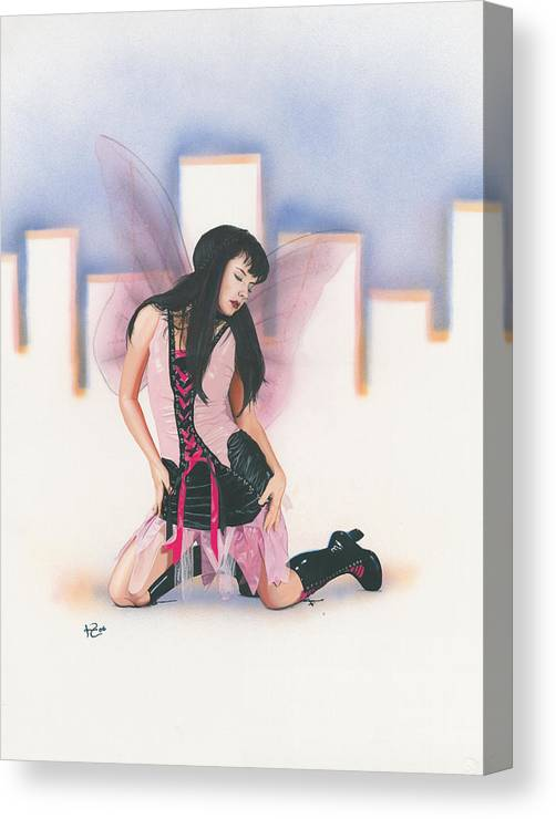 Fantasy Canvas Print featuring the painting Urban Pixie by Kevin Clark