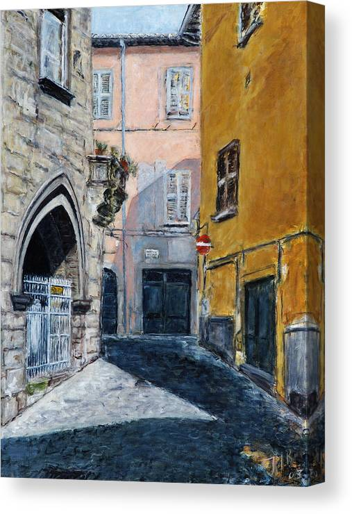Italy Town Ochre Wall Church Shadow Balcony Pink Indigo Canvas Print featuring the painting Viterbo Church by Joan De Bot