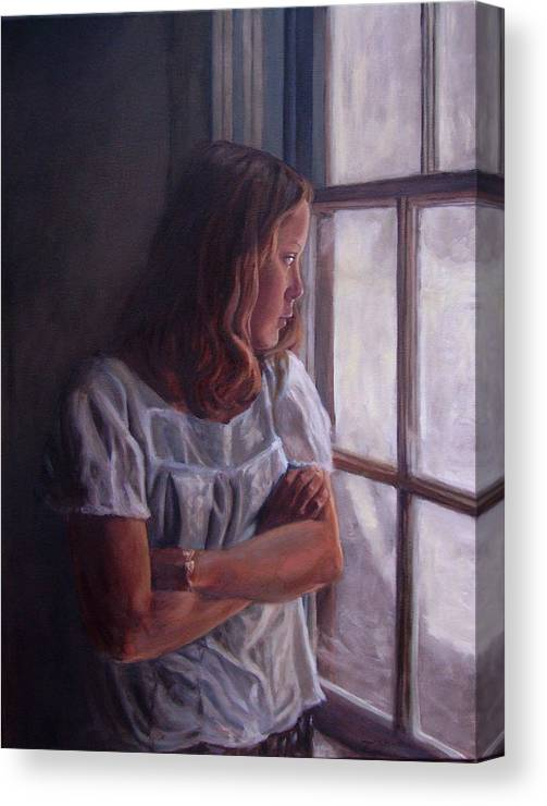 Woman At Window Canvas Print featuring the painting Waiting by Tahirih Goffic