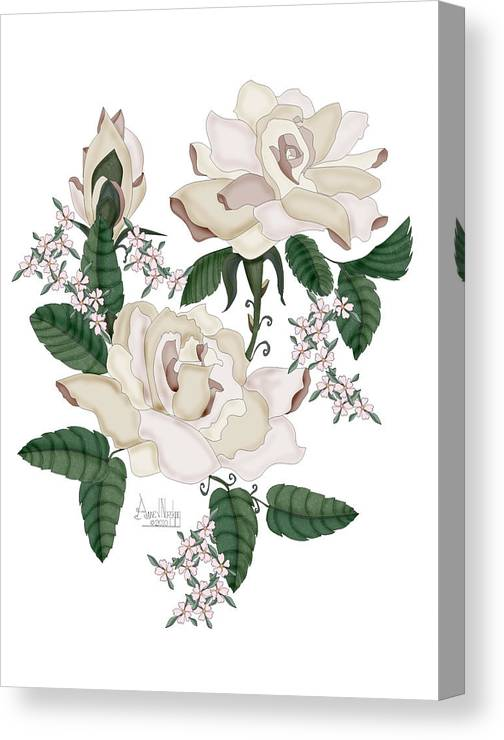 White Roses Canvas Print featuring the painting Wax Roses by Anne Norskog