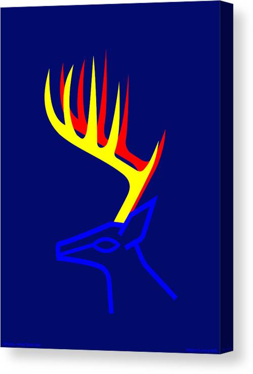 Canvas Print featuring the digital art White Taled Deer by Asbjorn Lonvig