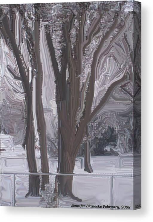 Landscape Canvas Print featuring the digital art Winter Trees by Jennifer Skalecke