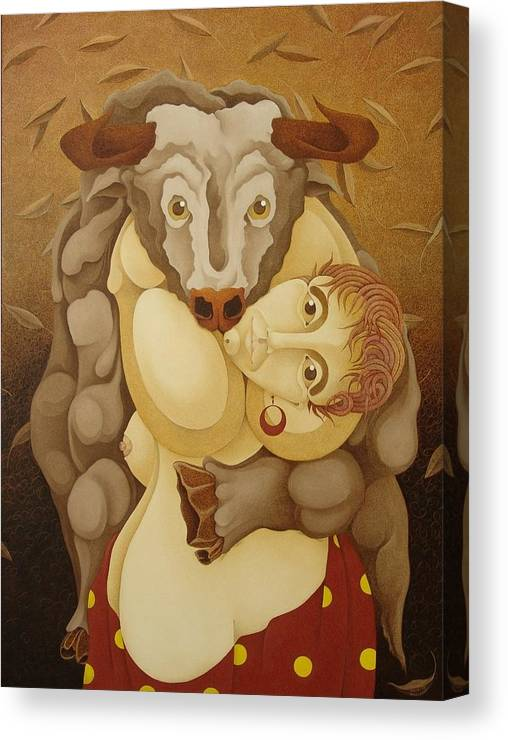Sacha Canvas Print featuring the painting Woman Embracing Bull 2005 by S A C H A - Circulism Technique