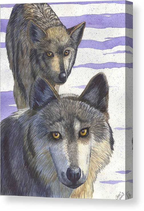 Wolf Canvas Print featuring the painting Woofies by Catherine G McElroy