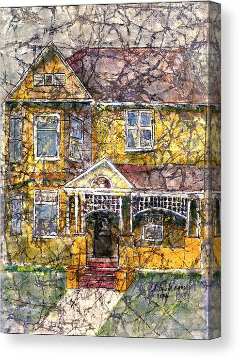 House Canvas Print featuring the mixed media Yellow Batik House by Suzanne Blender