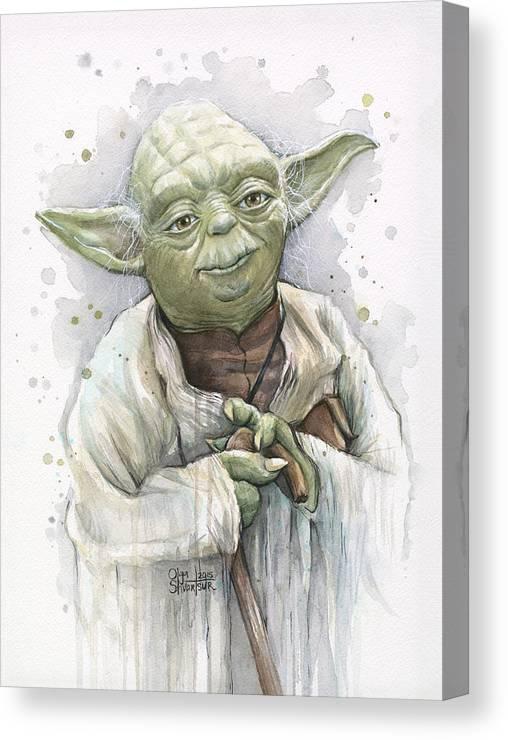 Yoda Canvas Print featuring the painting Yoda by Olga Shvartsur