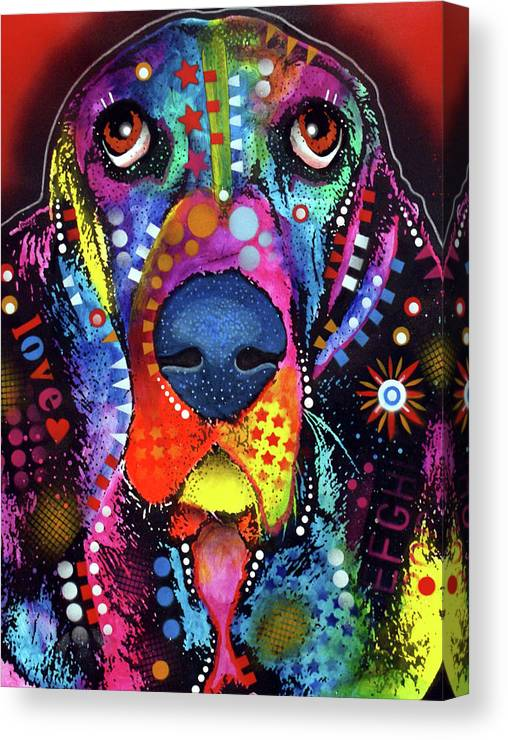 Basset Canvas Print featuring the mixed media Basset by Dean Russo