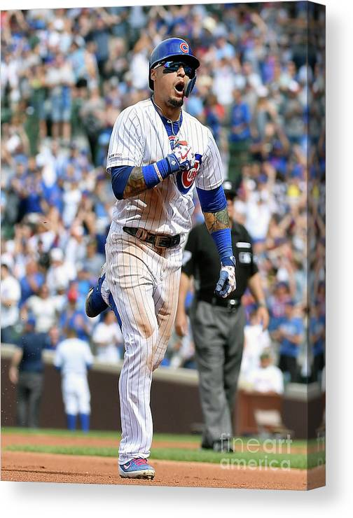 People Canvas Print featuring the photograph New York Mets V Chicago Cubs by Quinn Harris