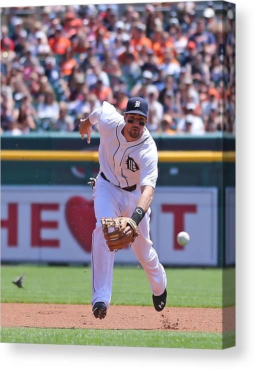 American League Baseball Canvas Print featuring the photograph Texas Rangers V Detroit Tigers by Leon Halip