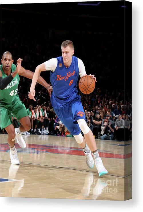 Nba Pro Basketball Canvas Print featuring the photograph Boston Celtics V New York Knicks by Nathaniel S. Butler