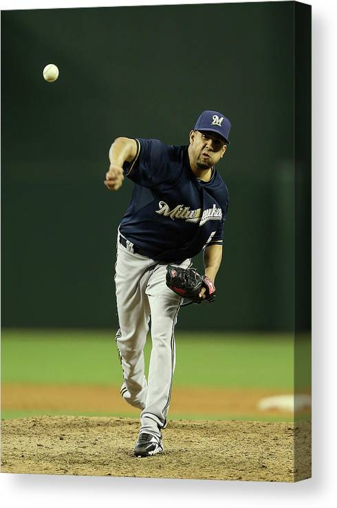 Relief Pitcher Canvas Print featuring the photograph Milwaukee Brewers V Arizona Diamondbacks by Christian Petersen