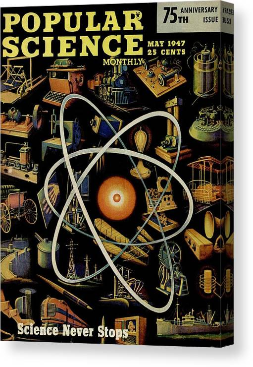 Magazine Cover Canvas Print featuring the photograph Popular Science Magazine Covers by Popular Science