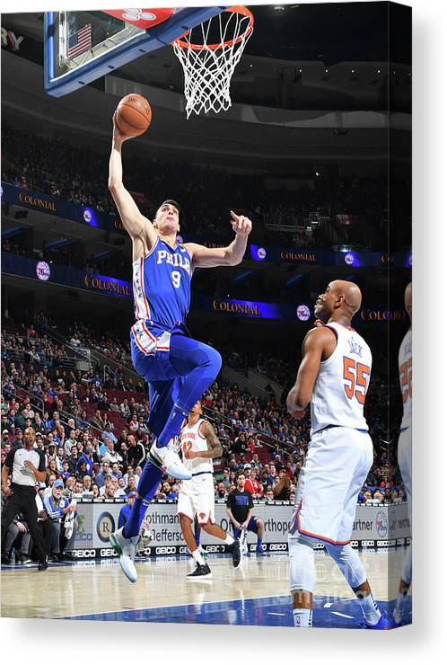 Nba Pro Basketball Canvas Print featuring the photograph Philadelphia 76ers V New York Knicks by Jesse D. Garrabrant