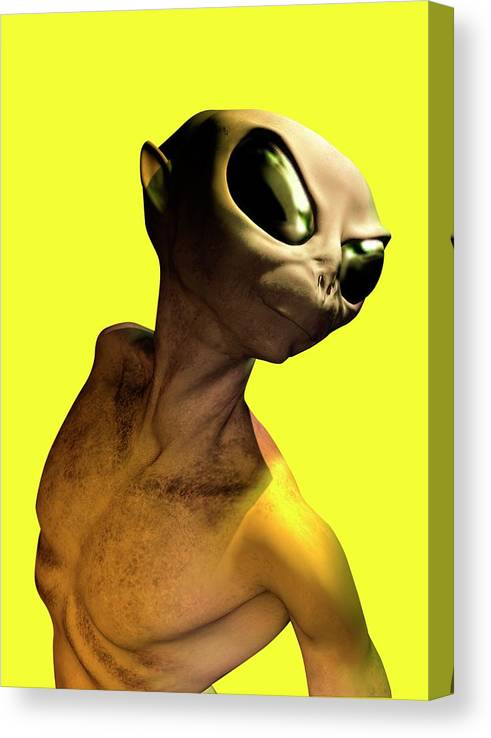 Looking Over Shoulder Canvas Print featuring the digital art Alien, Artwork by Victor Habbick Visions