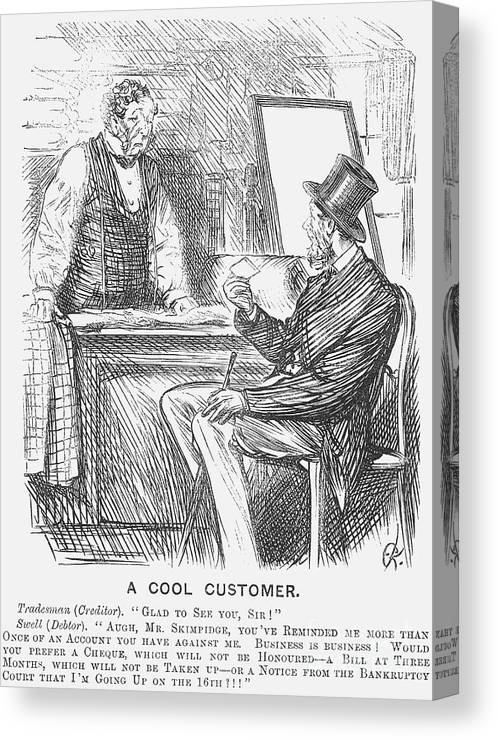 Debt Canvas Print featuring the drawing A Cool Customer. 1871 by Print Collector