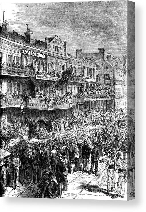 Democracy Canvas Print featuring the drawing A Street In New Orleans On Election by Print Collector