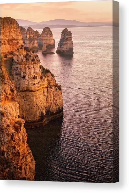 Algarve Canvas Print featuring the photograph Algarve Coastline, Lagos, Portugal by Zu Sanchez Photography