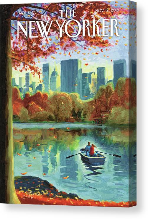 Autumn Central Park Canvas Print featuring the drawing Autumn Central Park by Eric Drooker