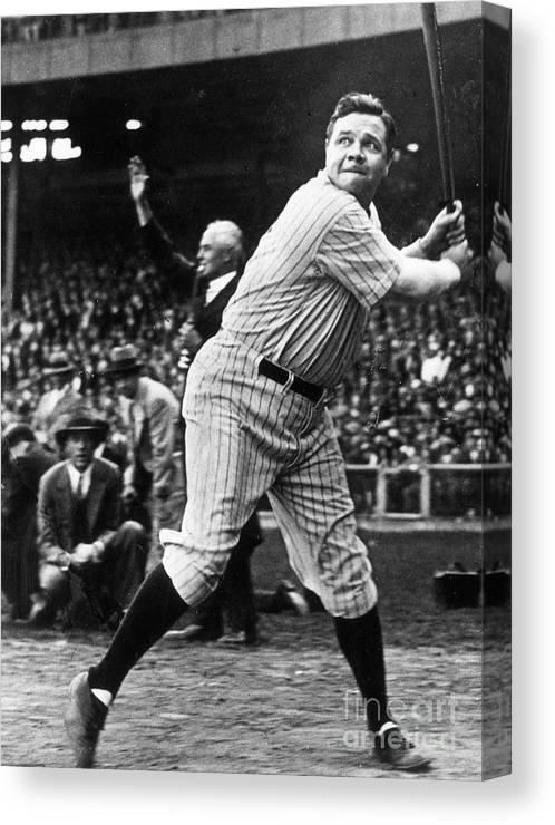 American League Baseball Canvas Print featuring the photograph Babe Ruth Eye On Ball by Transcendental Graphics