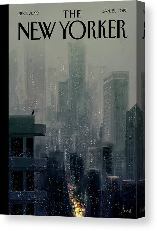 Cityscape On A Wintery Evening With A Silhouette Of A Person On A Rooftop Canvas Print featuring the painting Big City by Pascal Campion