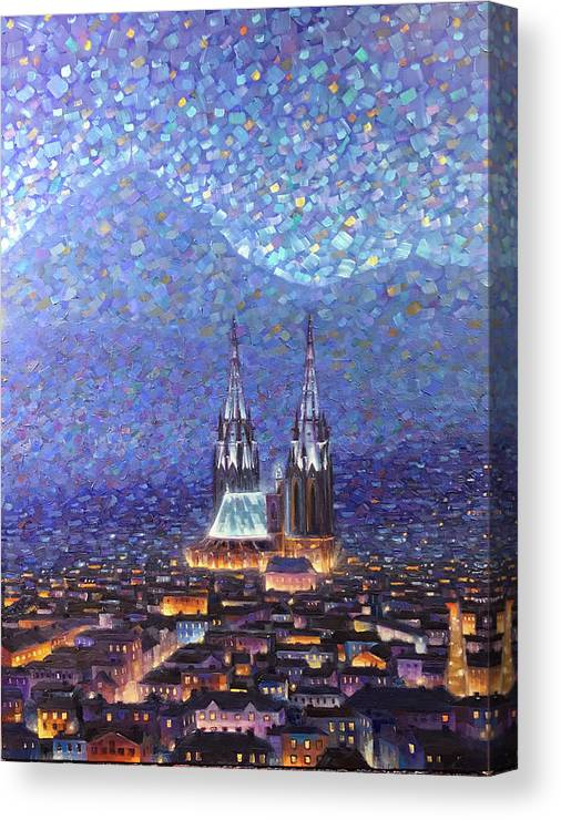 Rob Buntin Canvas Print featuring the painting Cathedrale3 by Rob Buntin