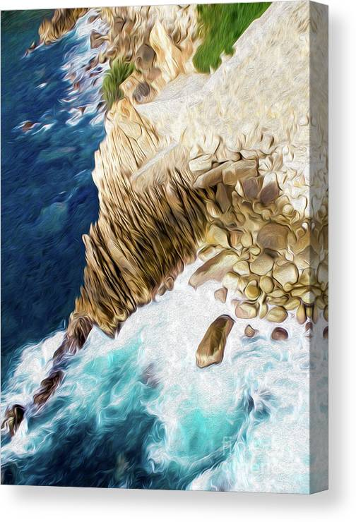 Cliffs In Alcapulco Canvas Print featuring the digital art Cliffs in Acapulco Mexico Ill by Kenneth Montgomery