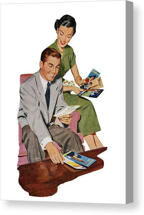 Heterosexual Couple Canvas Print featuring the digital art Couple With Travel Brochures by Graphicaartis