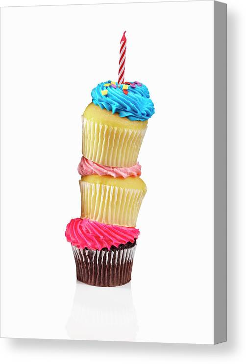 Unhealthy Eating Canvas Print featuring the photograph Cupcakes In A Stack by Lew Robertson