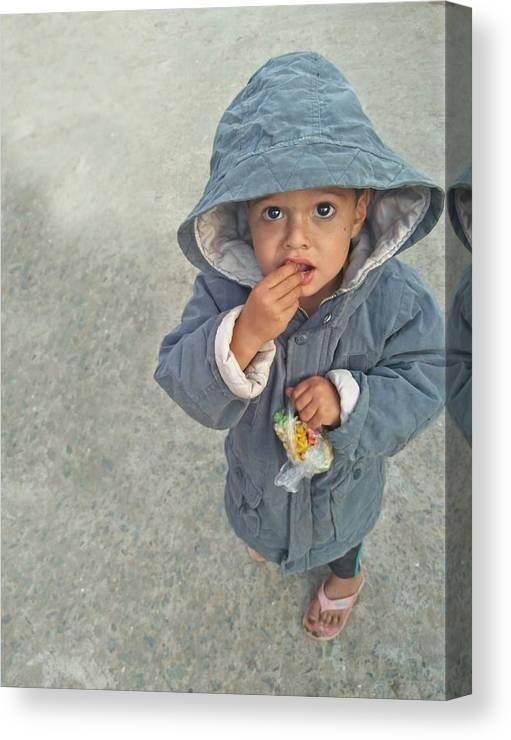 Cute Canvas Print featuring the photograph Cute baby by Imran Khan
