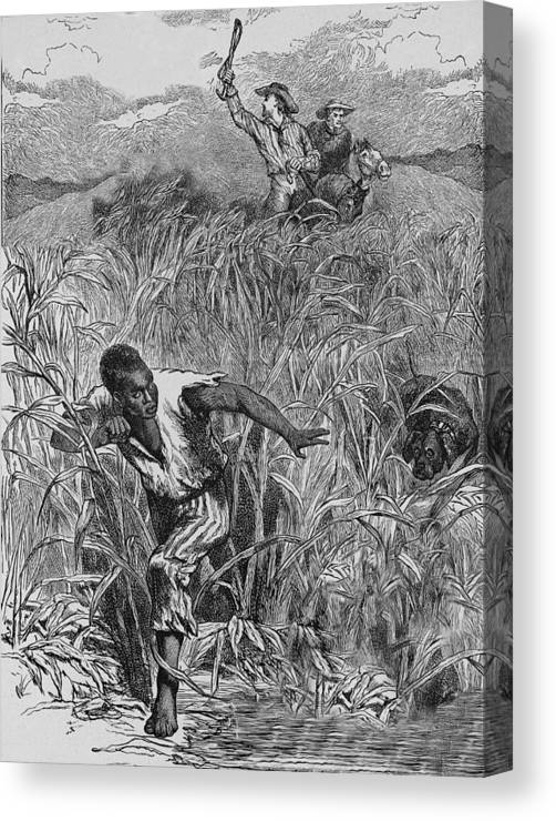 Engraving Canvas Print featuring the photograph Engraving Of Slave Escape, Mid-19th by Kean Collection