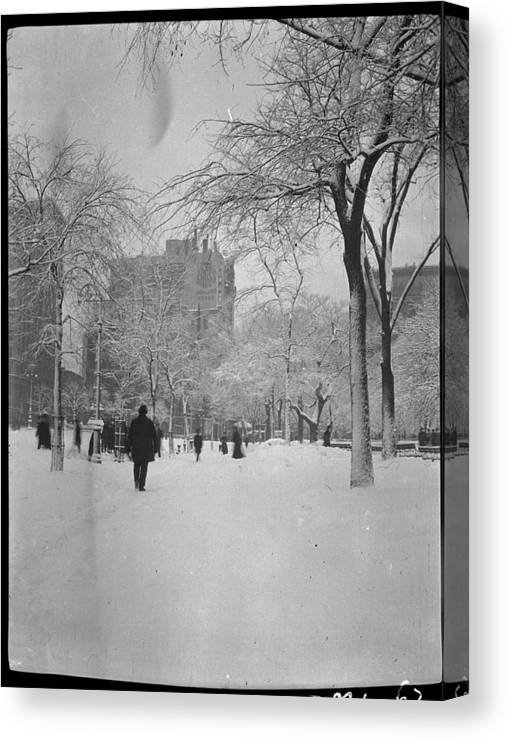 Snow Canvas Print featuring the photograph Fifth Avenue And 25th Street by The New York Historical Society