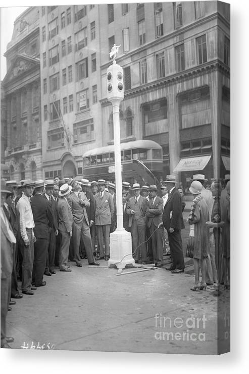 Crowd Of People Canvas Print featuring the photograph Grover Whalen Inspects New Traffic by Bettmann