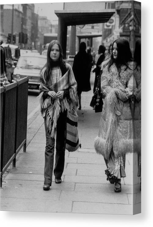 People Canvas Print featuring the photograph Hippy Fashion by Evening Standard