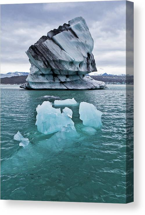 Iceberg Canvas Print featuring the photograph Icebergs On Jokulsarlon Glacial Lagoon by Arctic-images