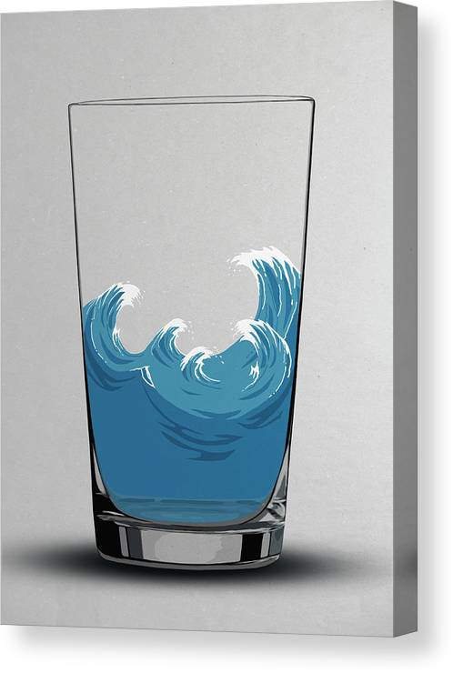 Concepts & Topics Canvas Print featuring the digital art Illustration Of Choppy Waves In A Water by Malte Mueller