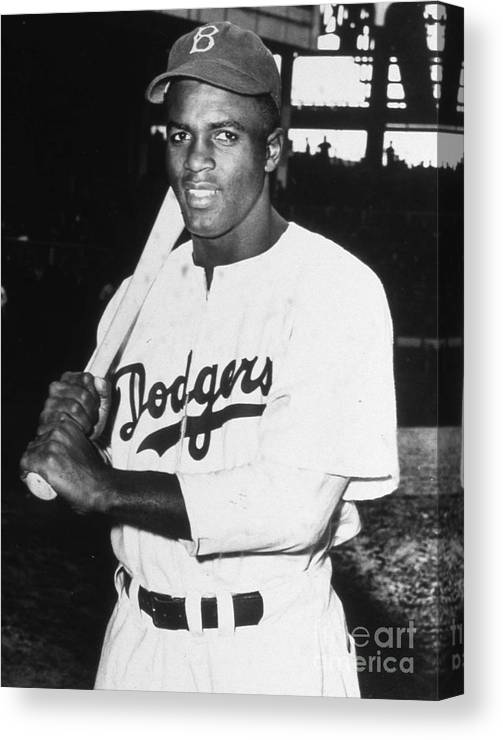 People Canvas Print featuring the photograph Jackie Robinson Rookie Dodgers Portrait by Transcendental Graphics