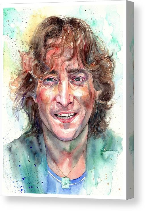 John Lennon Canvas Print featuring the painting John Lennon Smiling by Suzann Sines