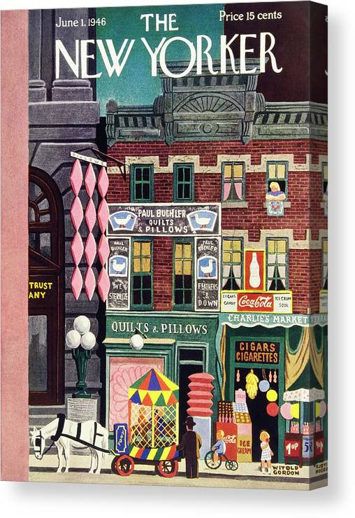 Illustration Canvas Print featuring the painting New Yorker June 1, 1946 by Witold Gordon