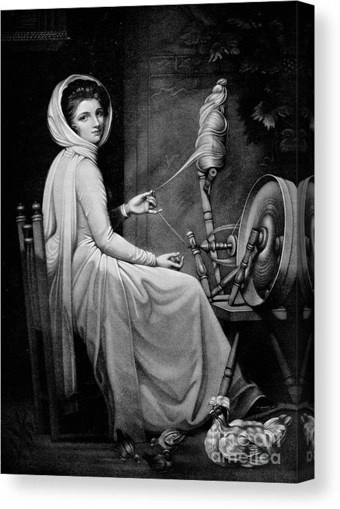 Oil Painting Canvas Print featuring the drawing Lady Hamilton As The Spinstress by Print Collector