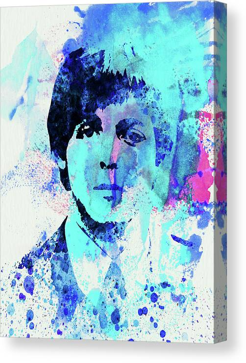 Beatles Canvas Print featuring the mixed media Legendary Paul Watercolor by Naxart Studio