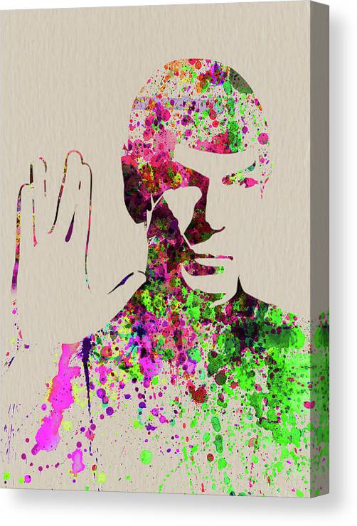 Spock Canvas Print featuring the mixed media Legendary Spock Watercolor by Naxart Studio