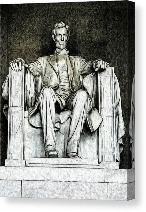 Washington Dc Canvas Print featuring the digital art Lincoln Memorial by Kenneth Montgomery